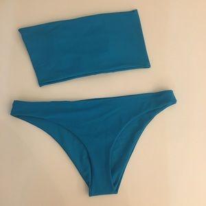 Bright blue bandeau bikini